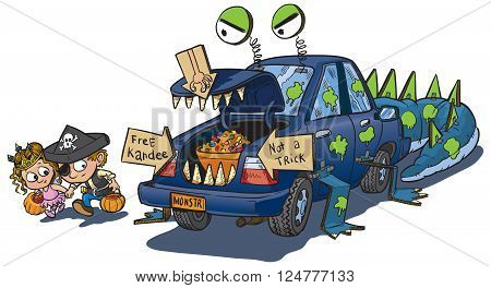 A vector clip art cartoon illustration of two kids warily approching a car decorated for a trunk or treat event on Halloween. The car is decorated to look like a monster that eats unwary children.