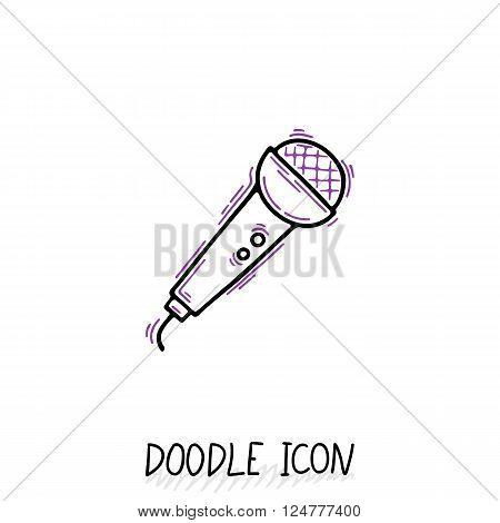 Doodle microphone icon. Speaker pictogram. Voice translator.