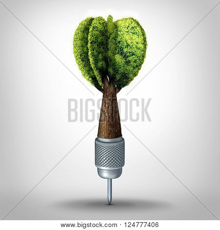 Environmental goal and green marketing success as a 3D illustration dart with a tree growing shaped as a target arrow as a business investment symbol or ecology conservation goals.