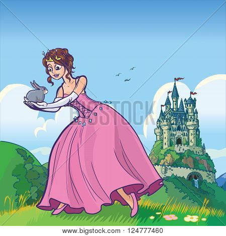 Vector cartoon illustration of a princess holding a rabbit with a fantasy castle in the distant background.