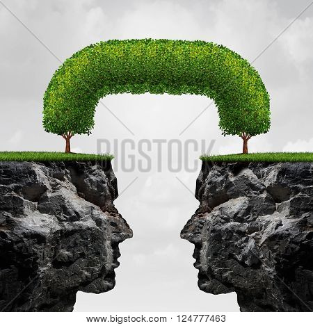 illustration cliffs connected together by trees that have merged together to form a long term union as a successful agreement metaphor. 3D