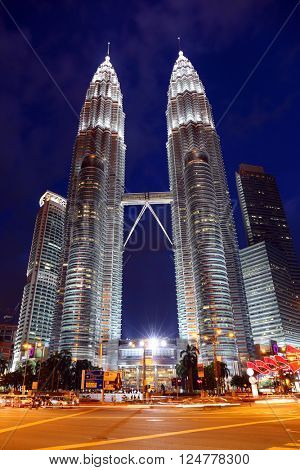 KUALA LUMPUR, MALAYSIA - JANUARY 31, 2016: Night view of the Petronas Twin Towers at Kuala Lumpur City Center. The most popular tourist destination in Malaysian capital
