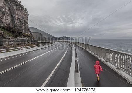 Child On Sea Cliff Bridge, Grand Pacific Drive, Australia
