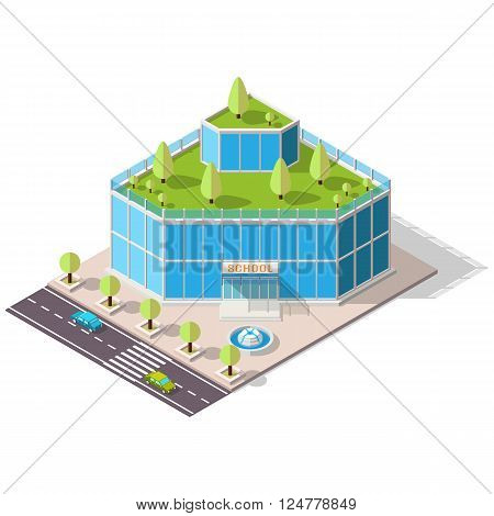 Vector isometric school or university building icon. Eco building with trees on the roof. High-tech architecture.