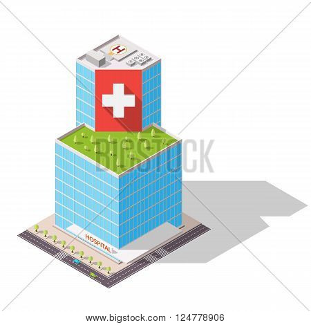 Vector isometric Hospital building icon. Eco building with trees on the roof. High-tech architecture.