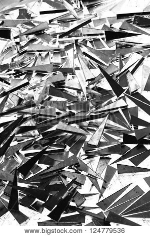 abstract of aluminum scraps in the factory