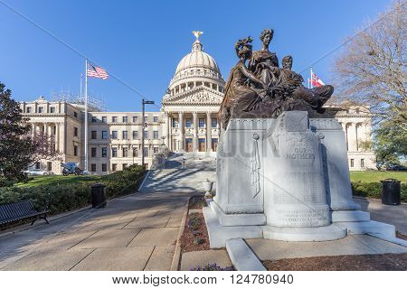 Mississippi State Capitol And Our Mothers Monument In Jackson,  Mississippi