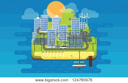 Eco island. Island with alternative energy sources. Beach on the island. Island in the sea of skyscrapers.