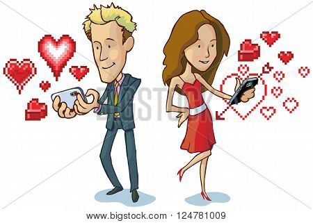 Vector cartoon clip art illustration of a man and woman texting each other love notes indicated by pixel art heart graphic elements. Great for Valentine's day!
