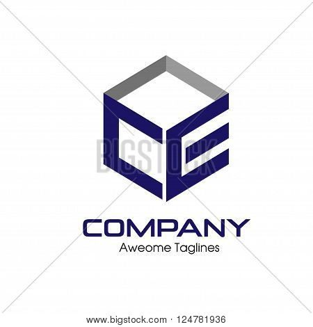 CE letter with box 3d style Business design template logo icon