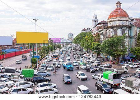 Traffic jam in Yangon Myanmar