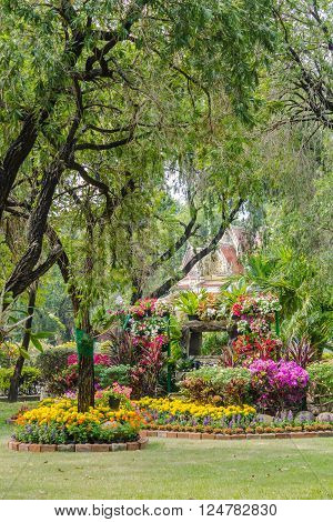 Landscaped flower garden with lots of colorful blooms on summer. ** Note: Soft Focus at 100%, best at smaller sizes