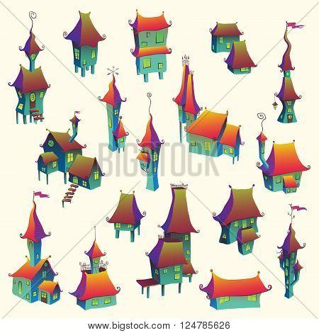 Cartoon old fairytale town set. Vector illustration