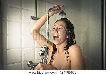 Singer in the shower