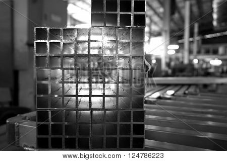 abstract of square aluminum tube for background used