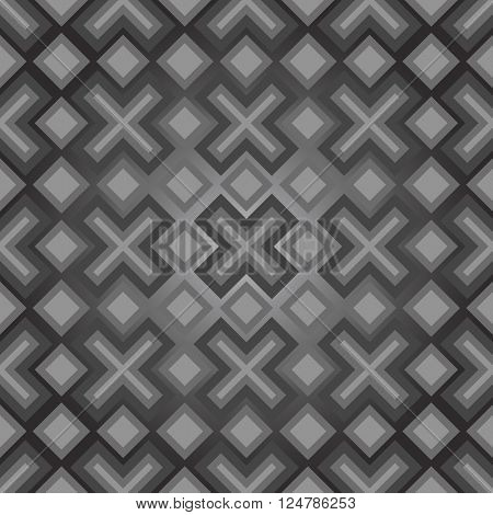 Abstract seamless grey modern diamonds and crosses vector background.