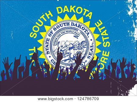 Audience happy reaction with South Dakota State flag background