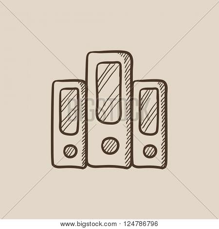 Row of folders sketch icon.