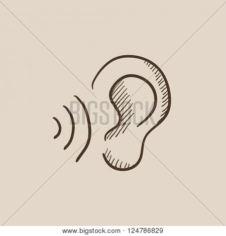 Ear and sound waves sketch icon.