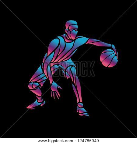 Basketball player Slam Dunk Neon Glow Silhouette. Creative vector illustration on black background