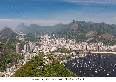 Rio de Janeiro, Brazil - December 21, 2012: Aerial view of Rio de Janeiro from the Sugarloaf Mountain.