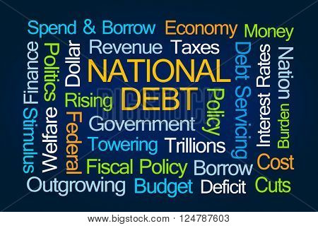 National Debt Word Cloud on Blue Background