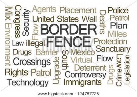 Border Fence Word Cloud on White Background