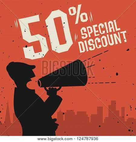 Megaphone Man business concept with text Special Discount, vector illustration