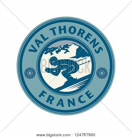 Abstract stamp or emblem with the name of Val Thorens, France, vector illustration