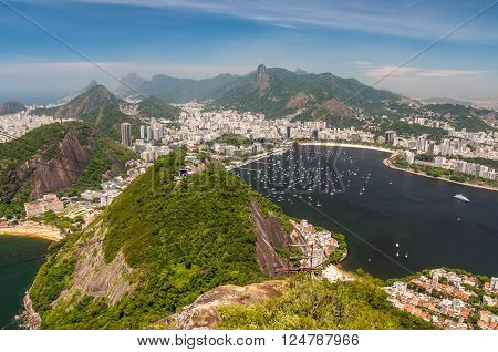 Aerial view of Rio de Janeiro from the Sugarloaf Mountain.
