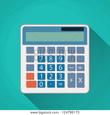Calculator flat illustration. Calculator isolated on a green background. Icon white calculator. electronic calculator. Concept icon accounting and calculation. vector illustration