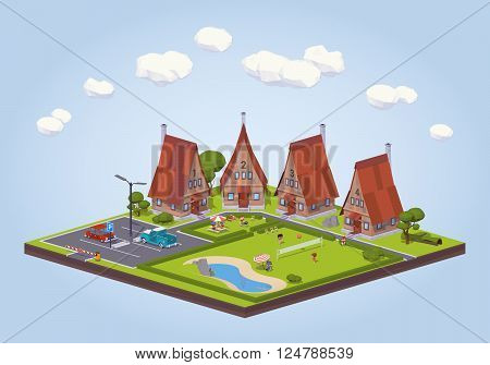 Hotel with the wooden cabins and the recreation area. 3D lowpoly isometric vector concept illustration