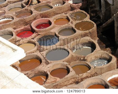 Traditional way leather tanning in Fez, Morocco