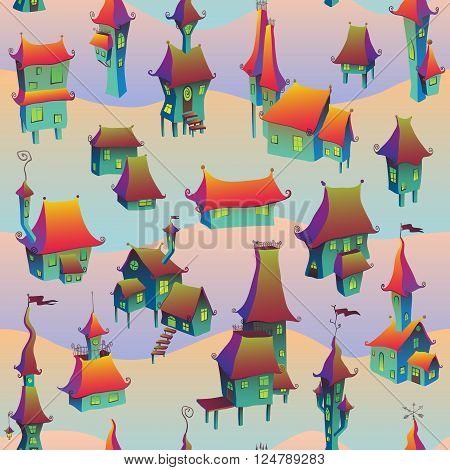 Cartoon old town seamless pattern. Vector illustration