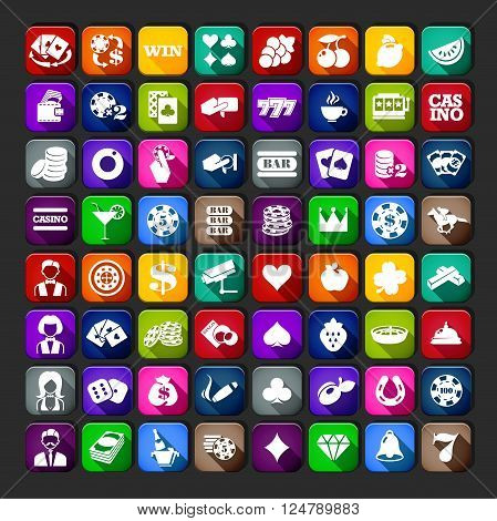 Casino Icons Simple Set. Casino Set UI. Casino Set App. Casino Set Web.