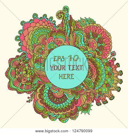 Vintage spring floral psychedelic background. Vector illustration