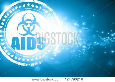 Glittering blue stamp: Aids virus concept background with some soft smooth lines