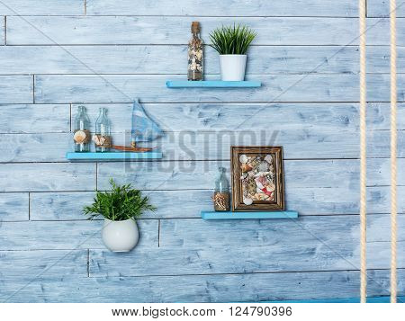 Decorative elements of the interior in maritime style closeup