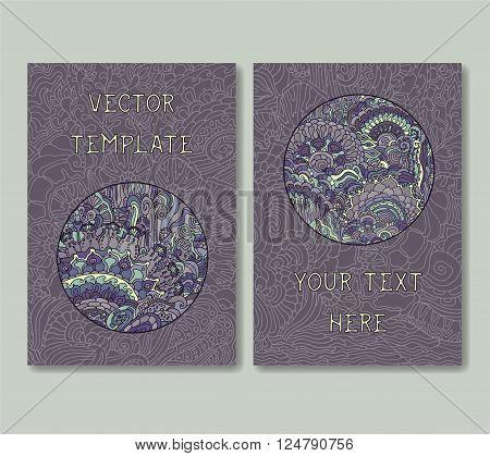 Vintage doodle card template set. Vector illustration