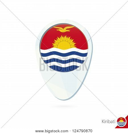 Kiribati Flag Location Map Pin Icon On White Background.