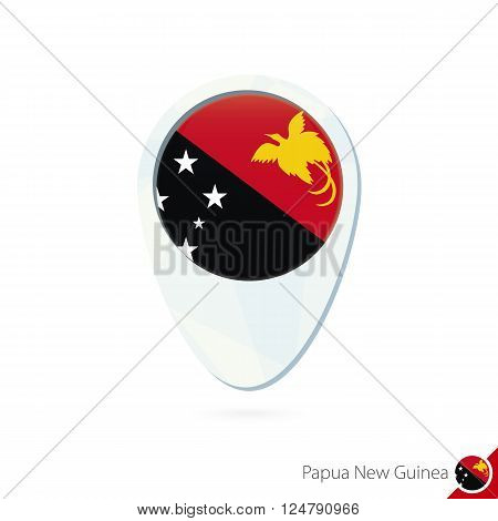 Papua New Guinea Flag Location Map Pin Icon On White Background.