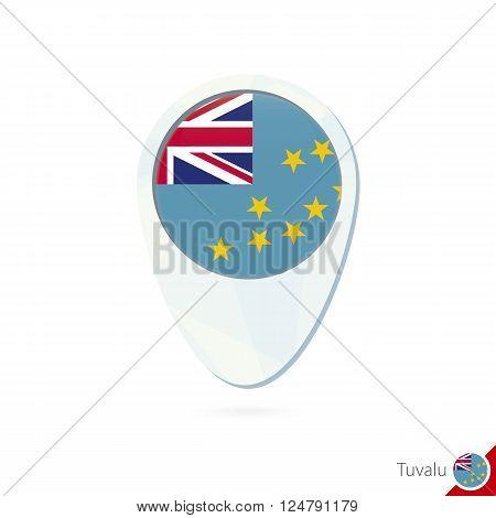 Tuvalu Flag Location Map Pin Icon On White Background.