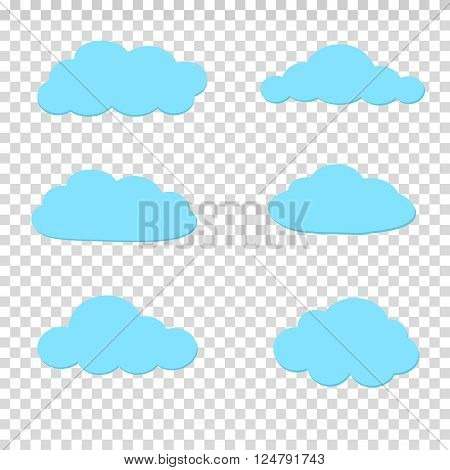 Set of blue sky, clouds. Cloud icon, cloud shape. Set of different clouds.  Vector design element for logo, web and print.