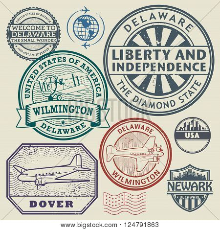 Label or stamp set with names of Delaware cities, vector illustration