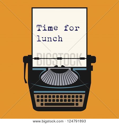 Typewriter with text Time for lunch, vector illustration