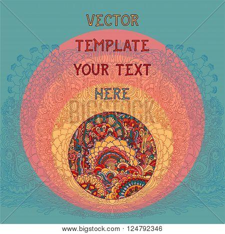 Vintage summer floral psychedelic background. Vector illustration