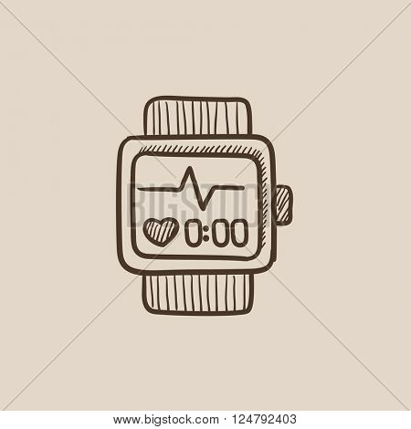 Smartwatch sketch icon.