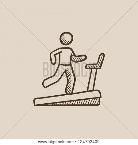 Man running on treadmill sketch icon.