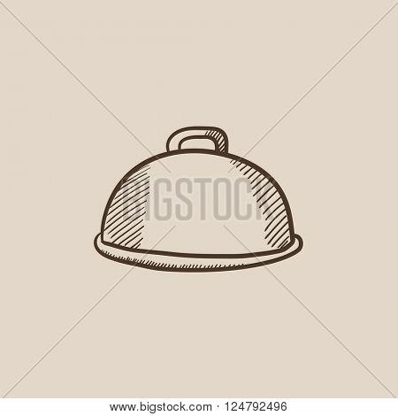 Restaurant cloche sketch icon.