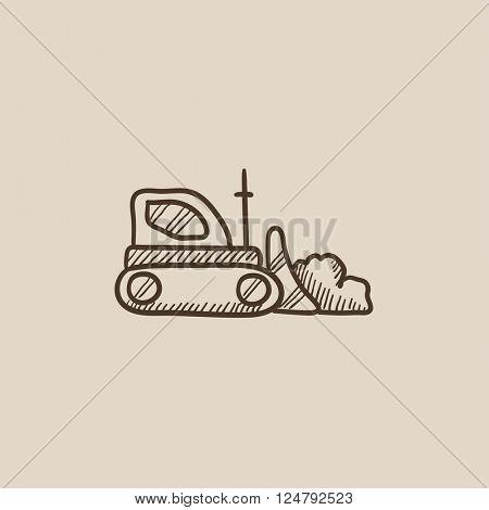 Bulldozer sketch icon.